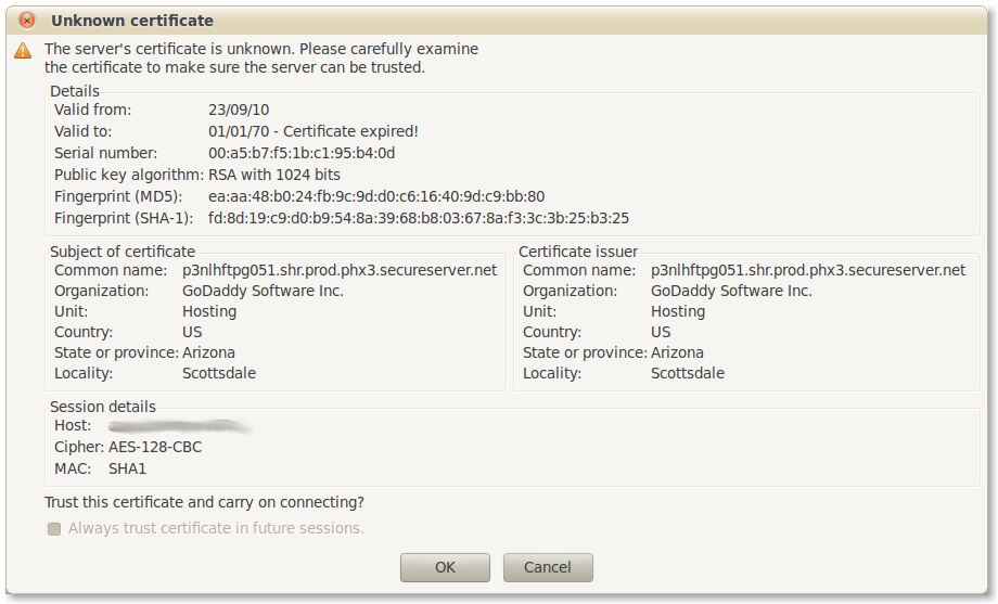 The certificate error message with the disabled checkbox.